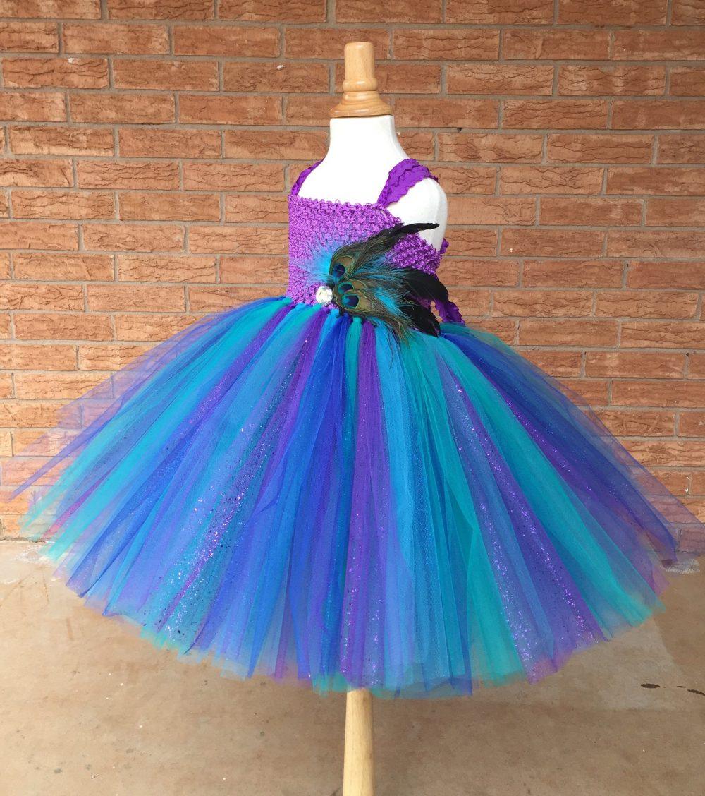 Peacock Wedding, Flower Girl Dress, Teal Tutu Tulle Peacock Theme