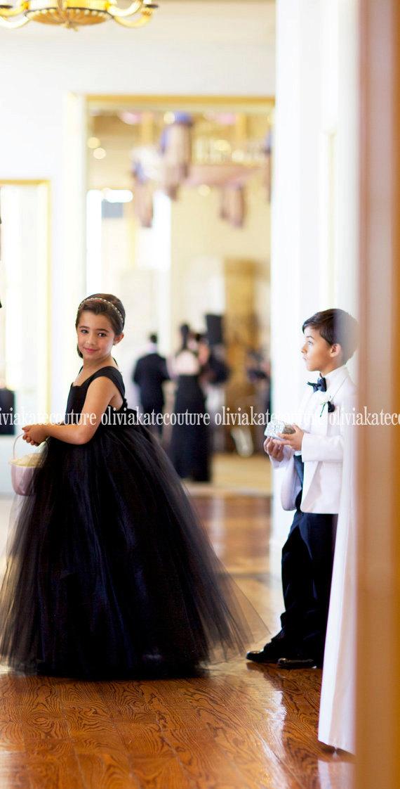 Black Tie Wedding, Flower Girl Dress, Formal Modern Flower Girl Dress, Floor Length Girls Dress