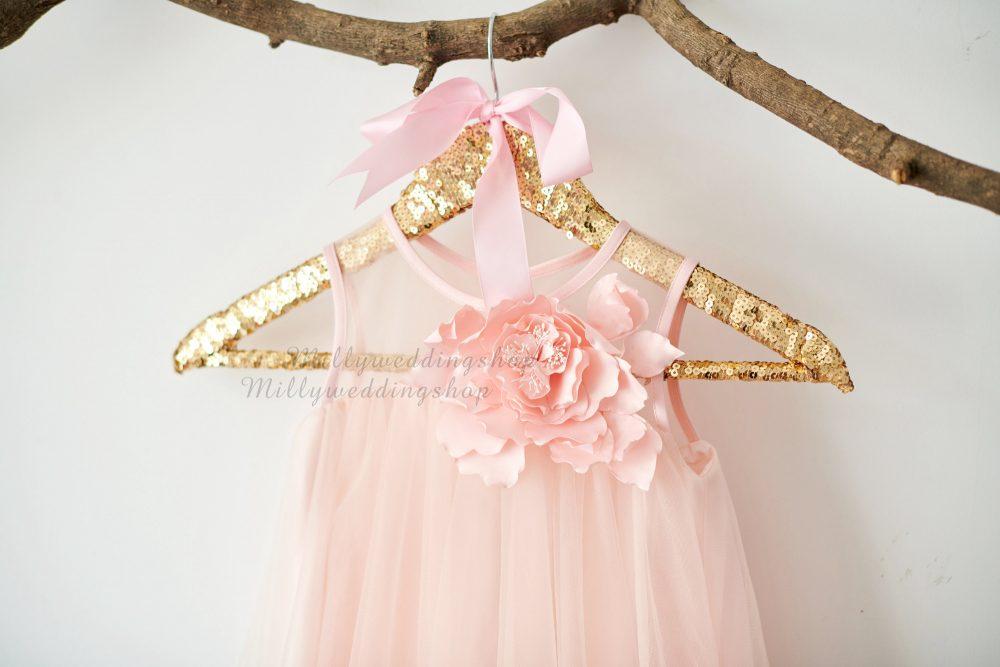 Boho Beach Blush Pink Tulle Wedding Flower Girl Dress M0076