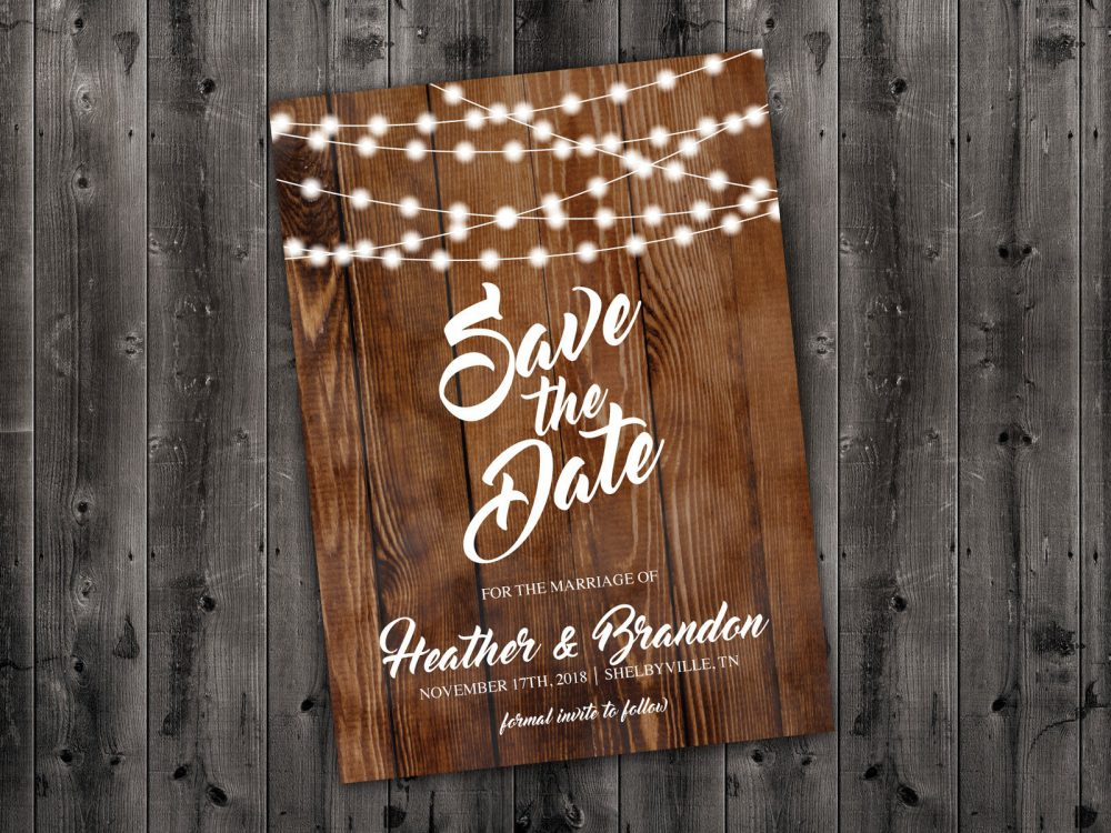 Rustic Save The Date Cards, The Postcard, Lights, Wood, Country Date, Engagement Card, Wedding Card