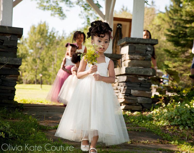 Rustic Wedding, Flower Girl Dresses, Ivory Tulle Princess Baby White Dress, Toddler Girls Wedding Dress Tutu