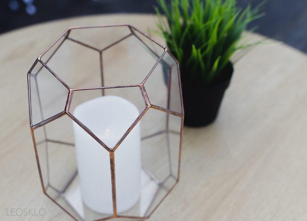 Wedding Geometric Candle Holder Terrarium Glass Wedding Decor in Copper Silver Or Black Geometric Decoration