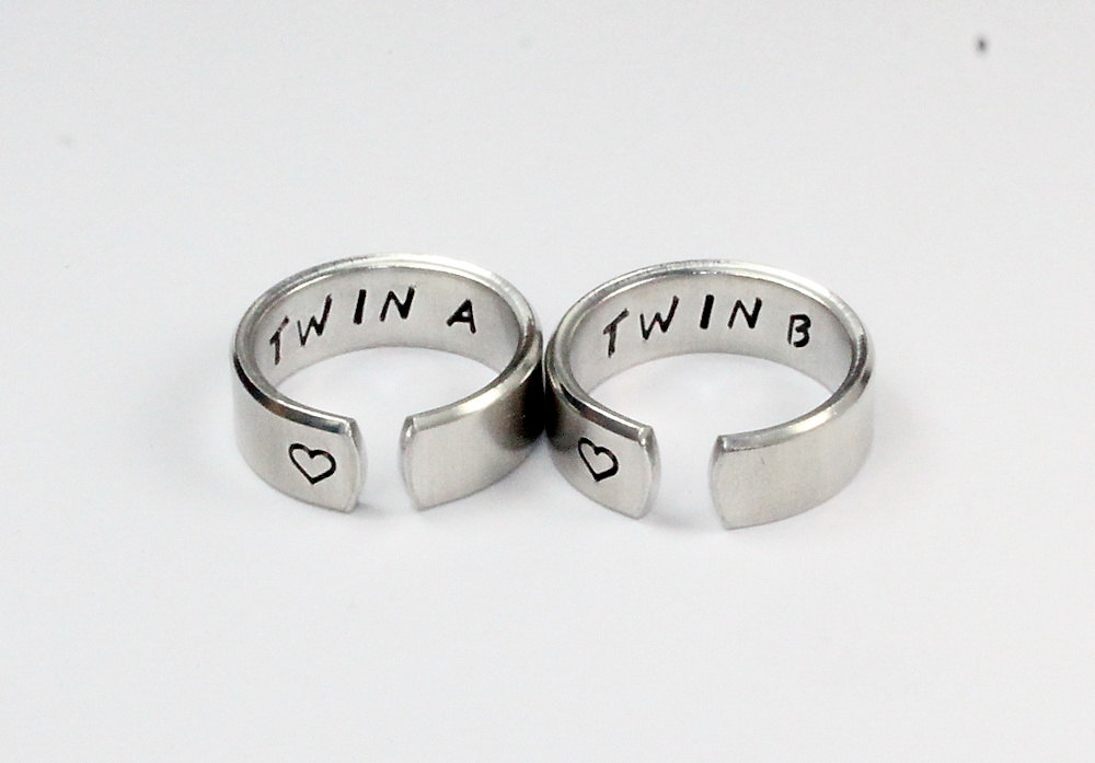Twin A, B Sister Ring Set, Sisters Matching Pair Rings, Jewelry, Hand Stamped Aluminum
