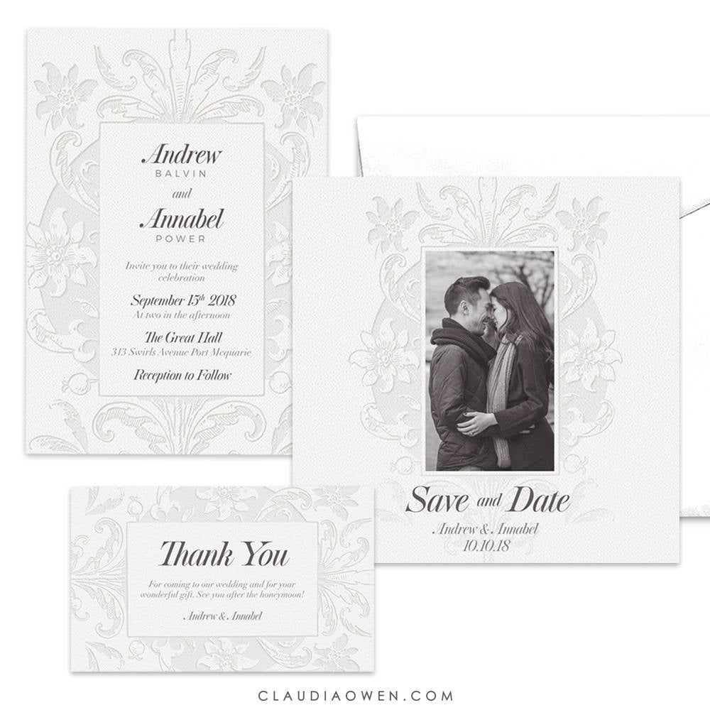 White Wedding Themed Invitation Suite, Elegant Set Photo Card Save The Date, Thank You Vintage Floral Lace All Affair