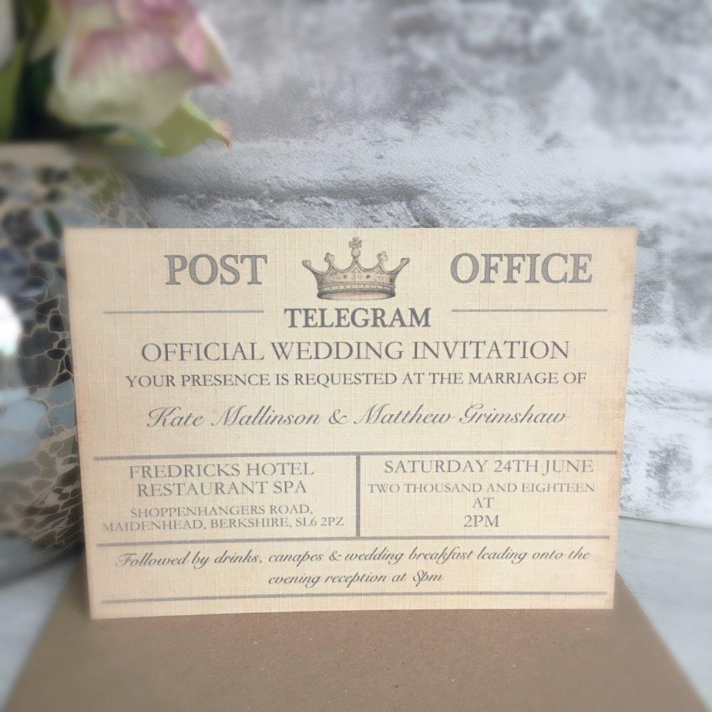 Sample - Vintage Travel Wedding Invitation, Telegram Wedding, Destination Invitations, Theme Invitation