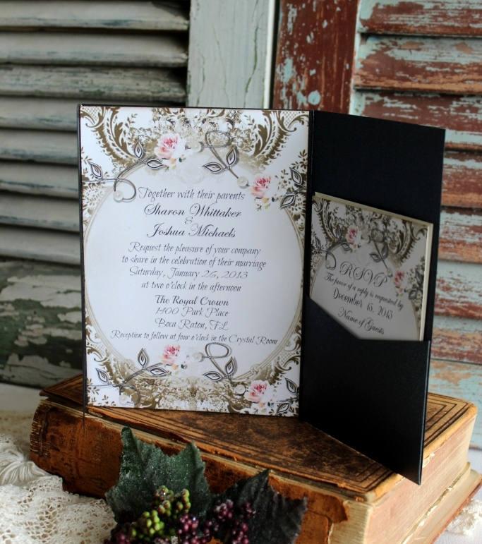 Onyx Pocketfold Wedding Invitation - Vintage Invitations Romantic Elegant Weddings Handmade By Avintageobsession On Etsy