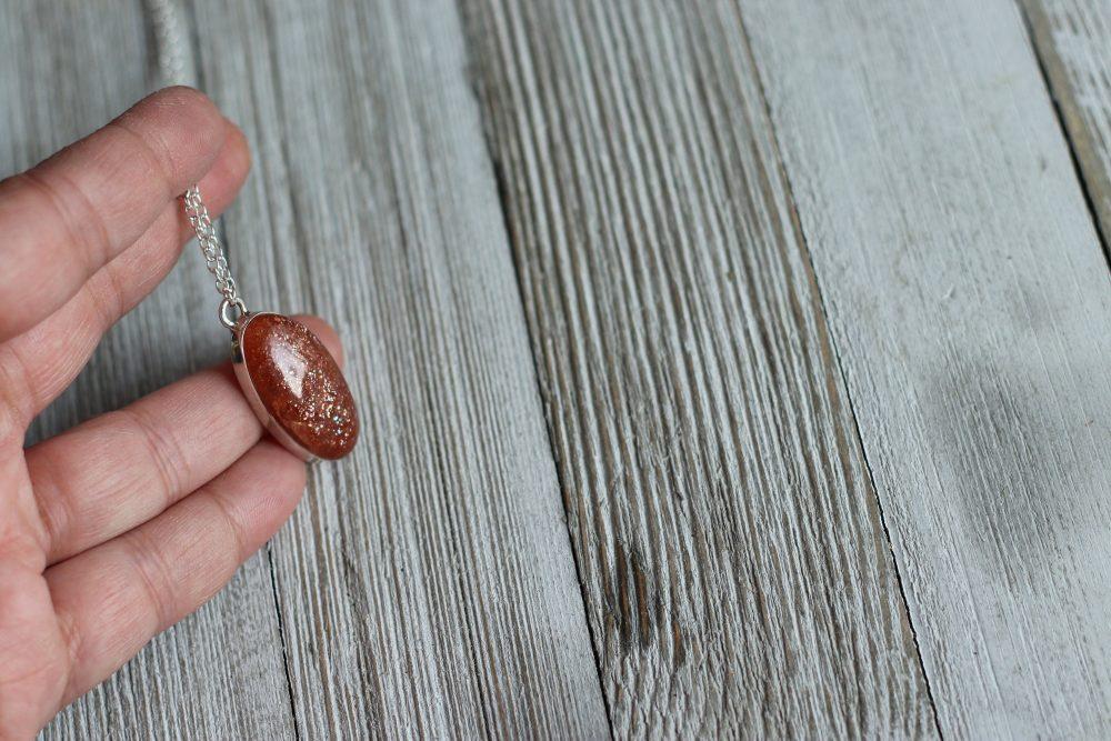 Sunstone Necklace Confetti Pendant Crystal