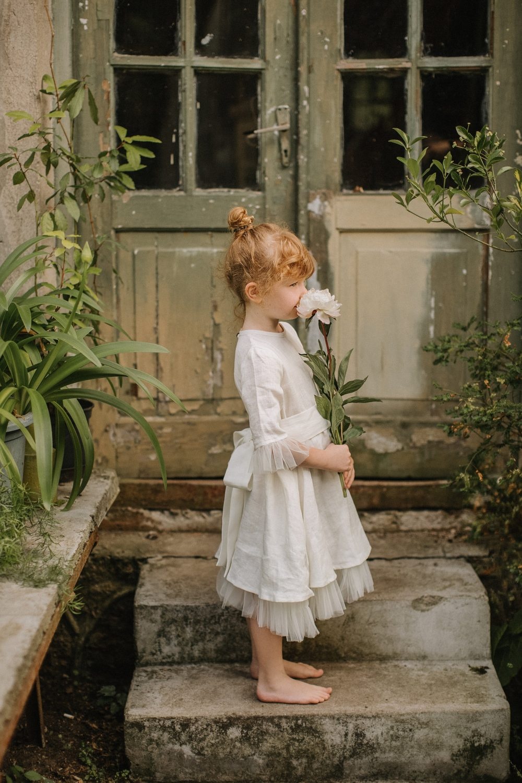Wedding Flower Girl Dress With Tulle. Summer Linen For Girls, Wedding Dress, Girls Tulle, Party