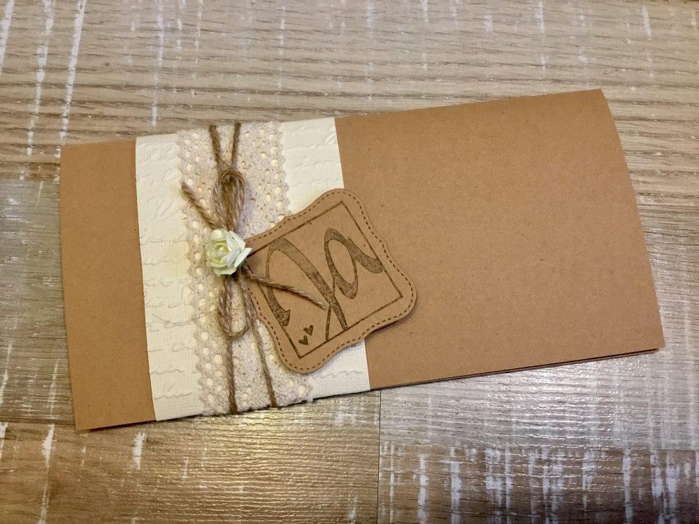 Invitation Wedding Vintage Boho Kraft Paper Craft