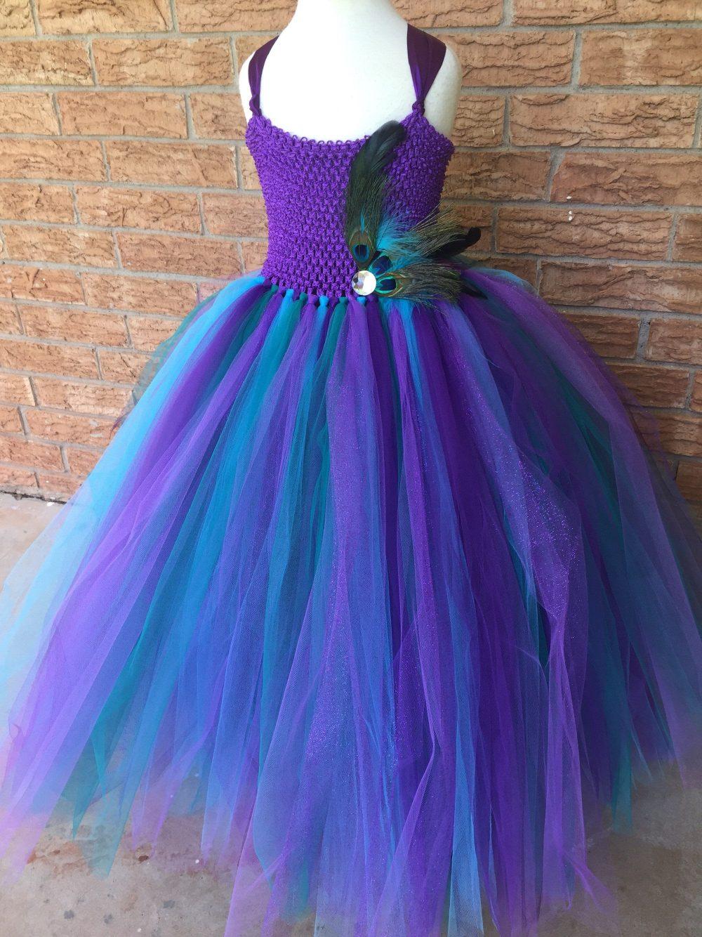 Purple Plum Peacock Wedding, Flower Girl Dress, Teal Tutu Tulle Peacock Theme