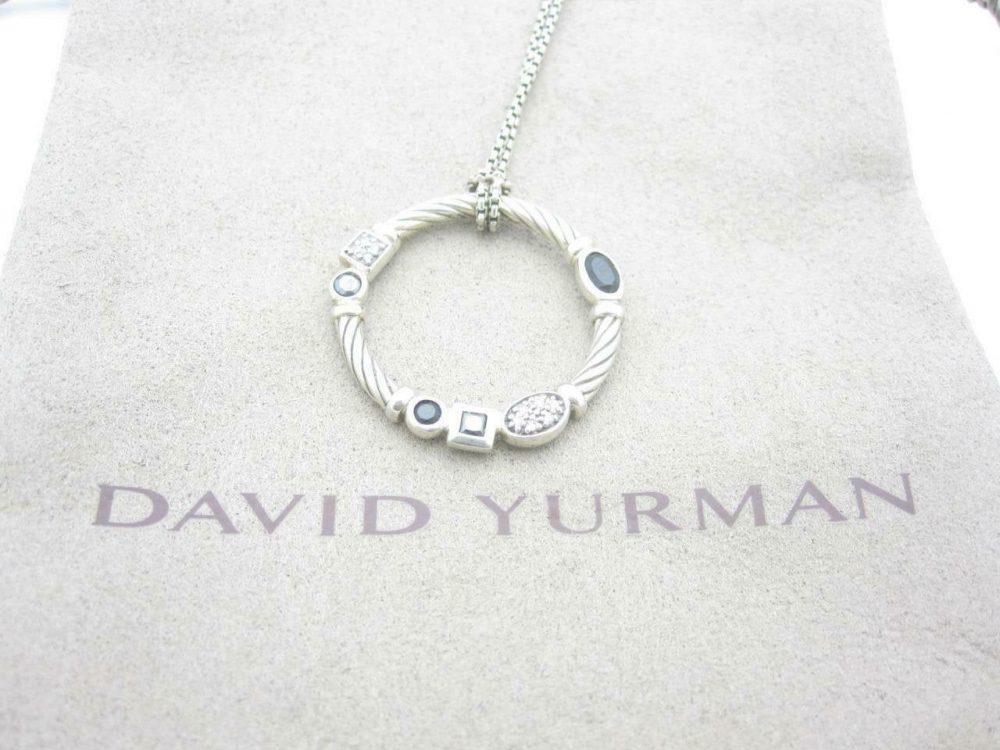 "David Yurman Sterling Silver Cable Confetti Diamond Onyx Necklace 18"" - Pouch A"