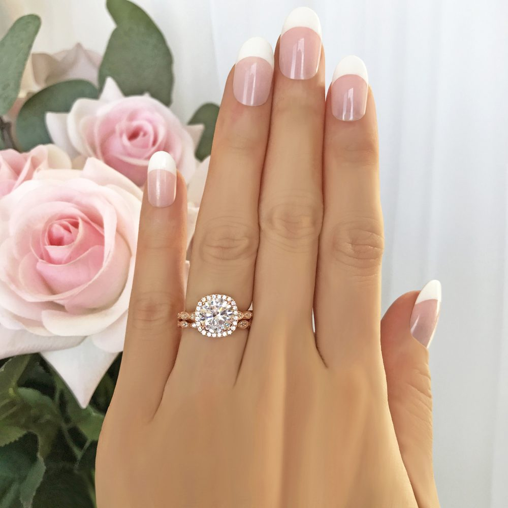 2.25 Ctw Halo Bridal Set, Art Deco Wedding Ring, Man Made Diamond Simulant, Vintage Style Engagement Sterling Silver, Rose Gold Plated
