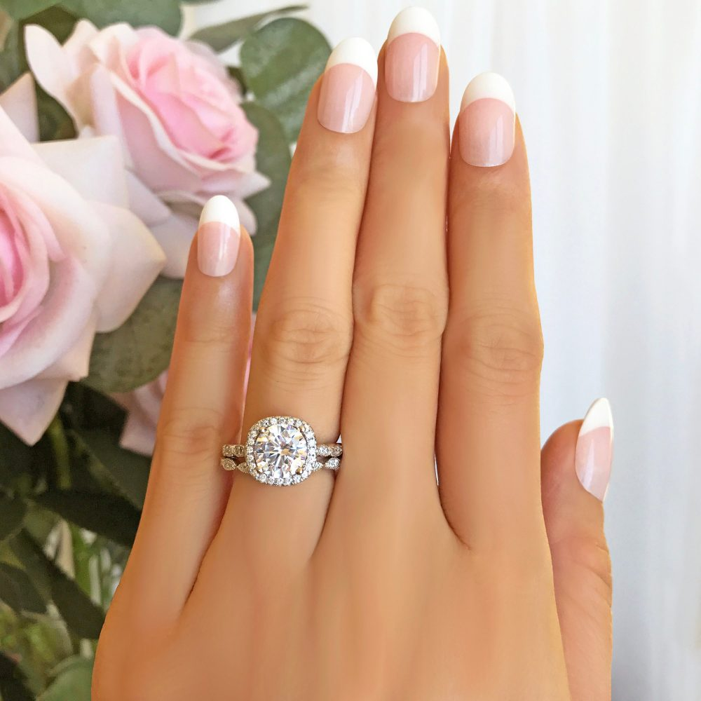 2.25 Ctw Halo Wedding Set, Vintage Inspired Bridal Rings, Man Made Diamond Simulants, Art Deco Ring, Round Engagement Sterling Silver