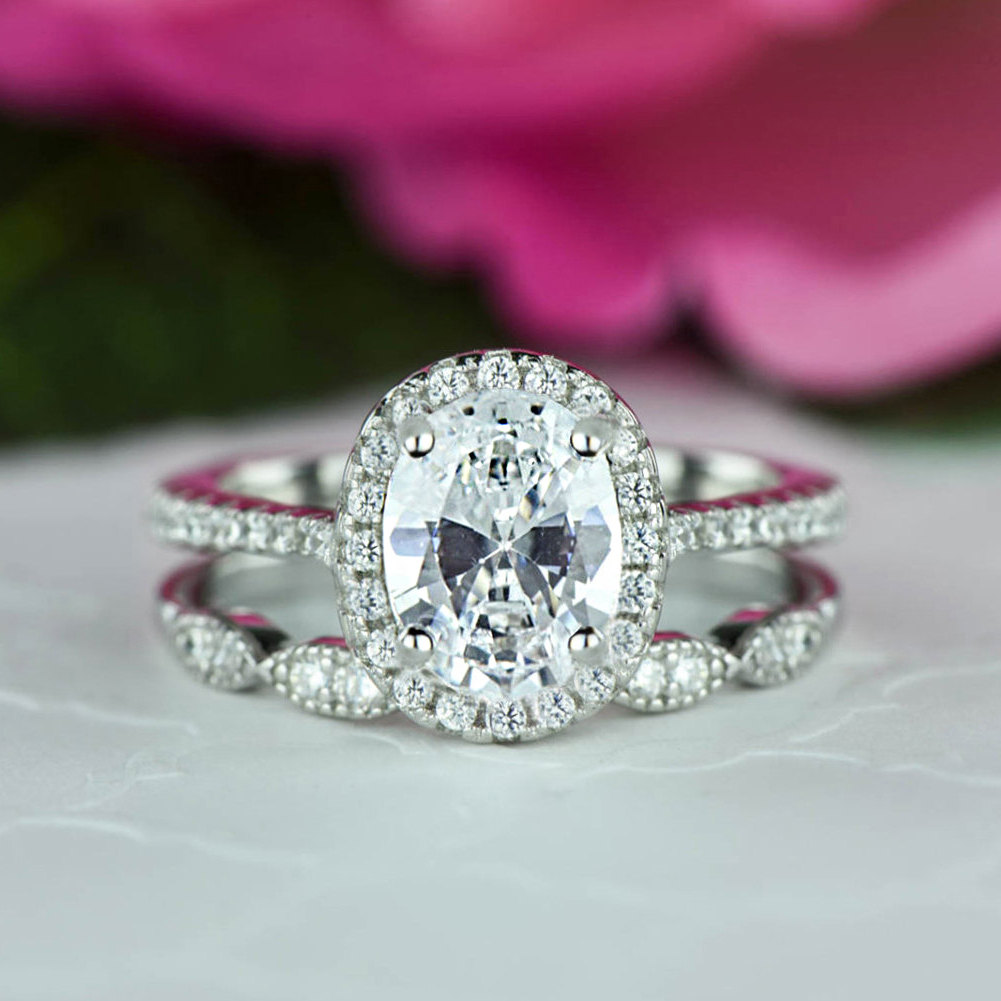 1.5 Ctw Oval Halo Wedding Set, Vintage Style Bridal Rings, Man Made Diamond Simulants, Art Deco Ring, Engagement Sterling Silver