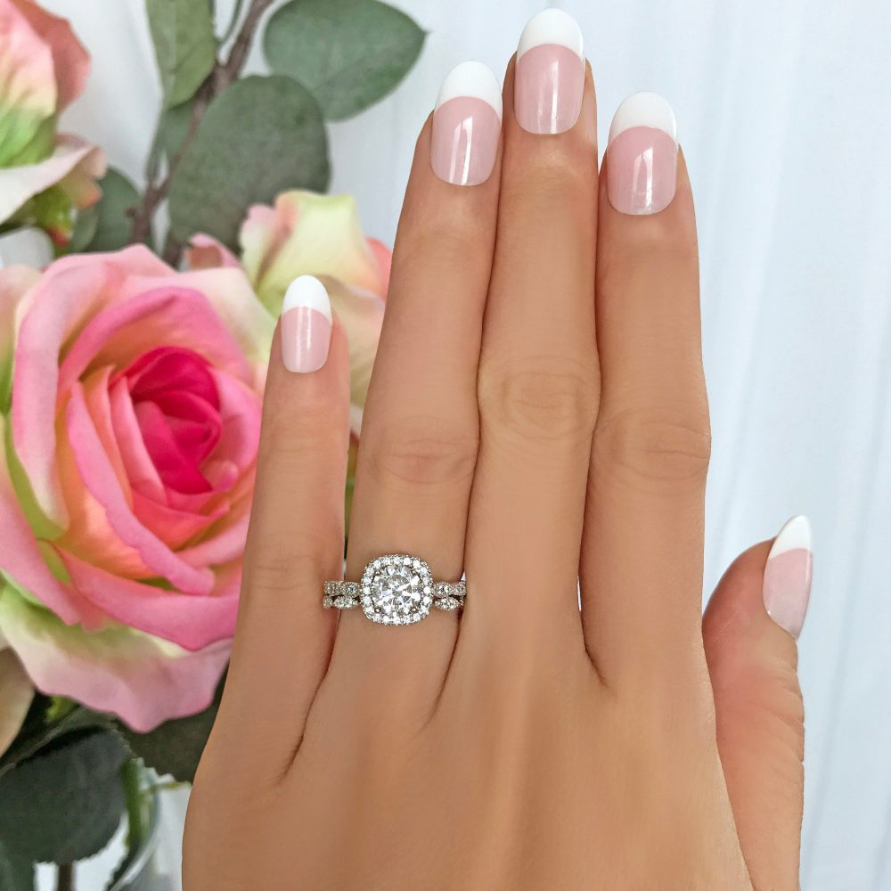1.25 Ctw Art Deco Halo Bridal Set, Vintage Style Rings, Man Made Diamond Simulants, Engagement Ring, Sterling Silver