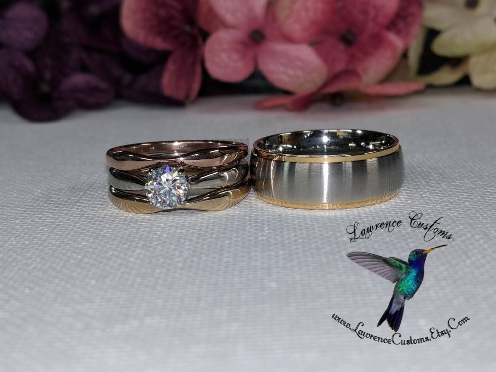 316L Stainless Steel Polished Tri-Color Wedding Band Ring Set For Her & 8mm 2 Toned Wedding Band Him, Couples Set Ready To Ship