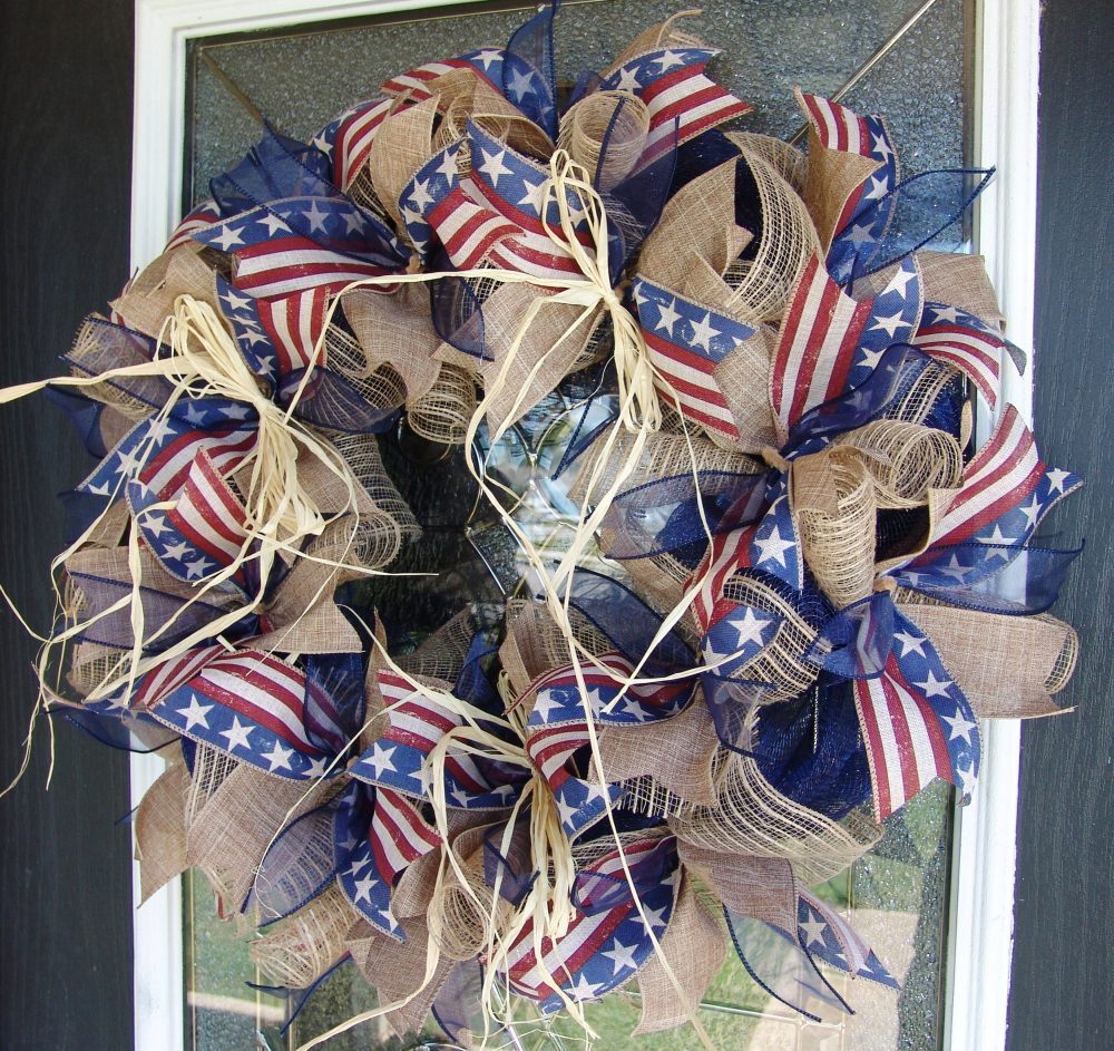 Simple Rustic Farmhouse Patriotic 4Th Fourth July Deco Mesh Front Door Wreath Cowboy Birthday Country Western Decor Porch Patio Decoration