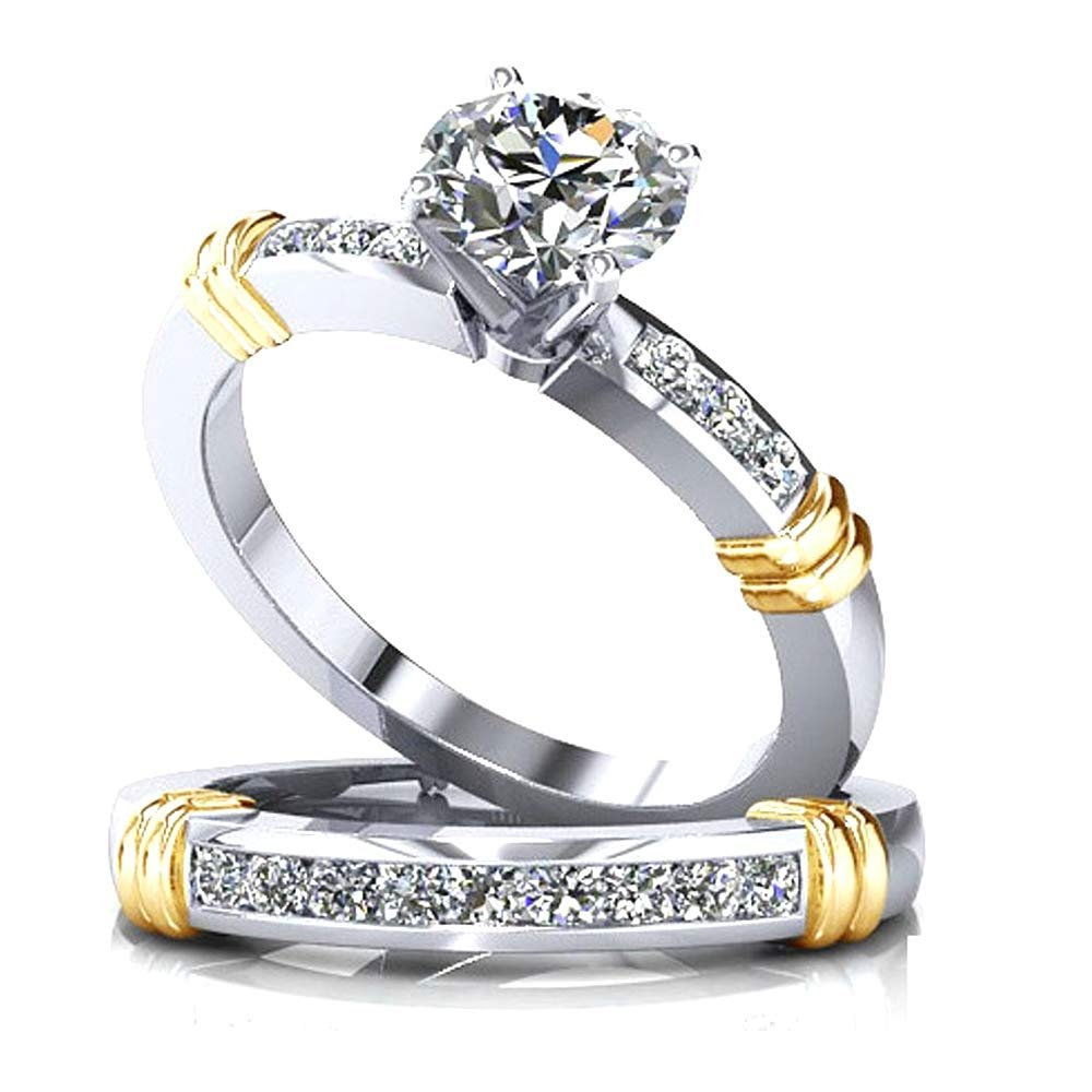 Abigail Sterling Silver Two Tone Engagement Wedding Band Ring Set