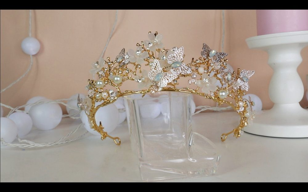 Butterfly Bridal Crown/Butterfly Hair Accessory/Bridal Floral Headband/Wedding Accessories/Wedding Prom Tiara/Gold Tiara