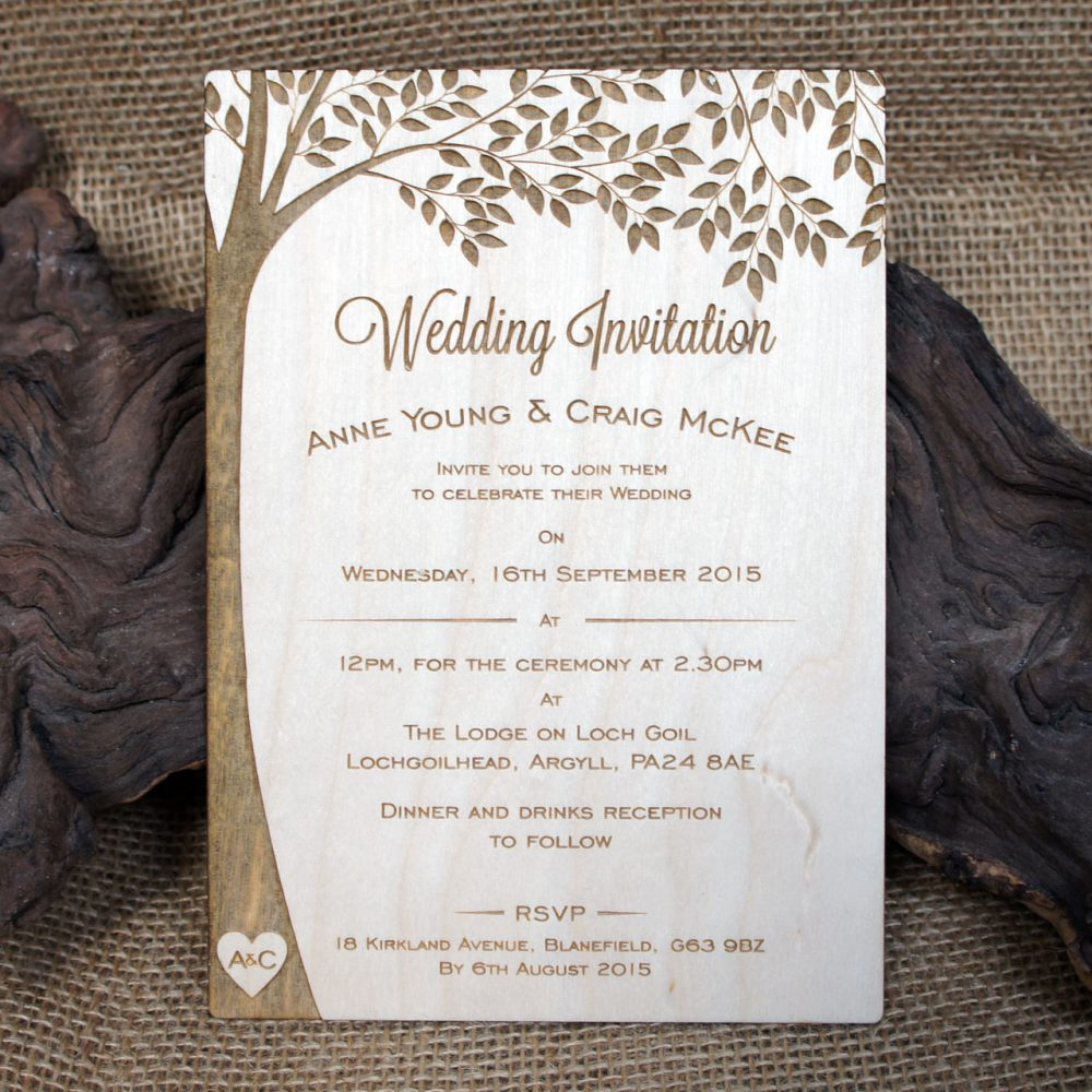 20+ Wooden Engraved Wedding Invitations - Initials, Woodland Invitations, Personalised Rustic Invites