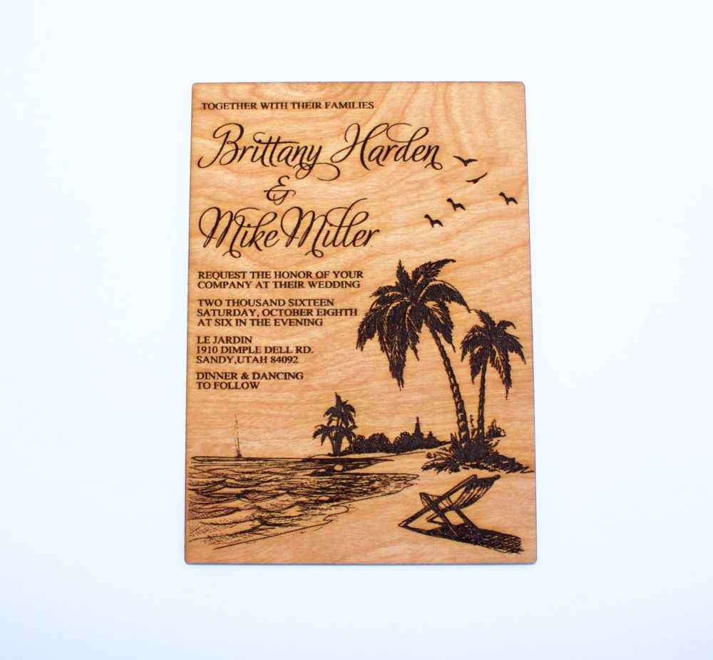 Beach Wedding, Wooden Invitations, Tropical Nautical, Palm Tree, Destination, Ocean, Laser Engraved, Rustic Invitation, Laser-Cut