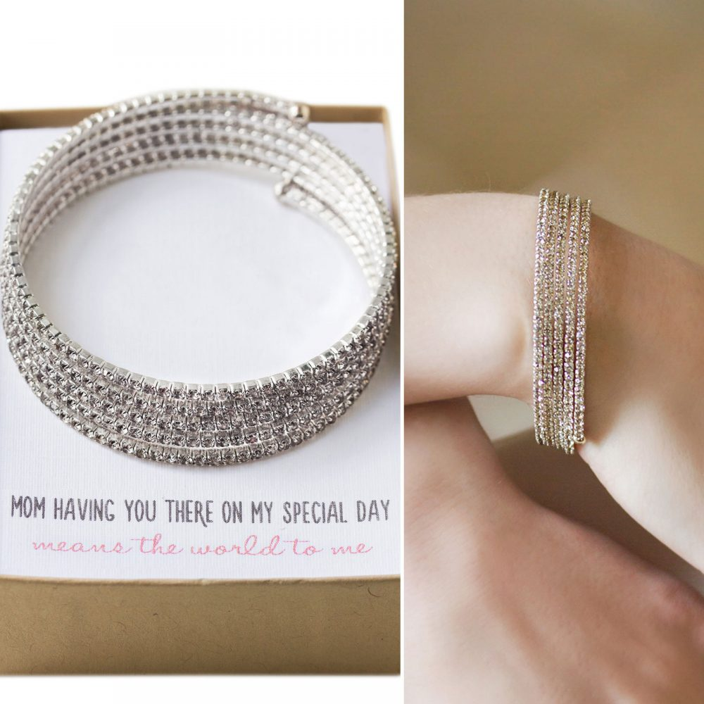 Mother Of The Bride Gift, Gift For Mom, Of Groom Wedding Bracelet, Silver B093-D