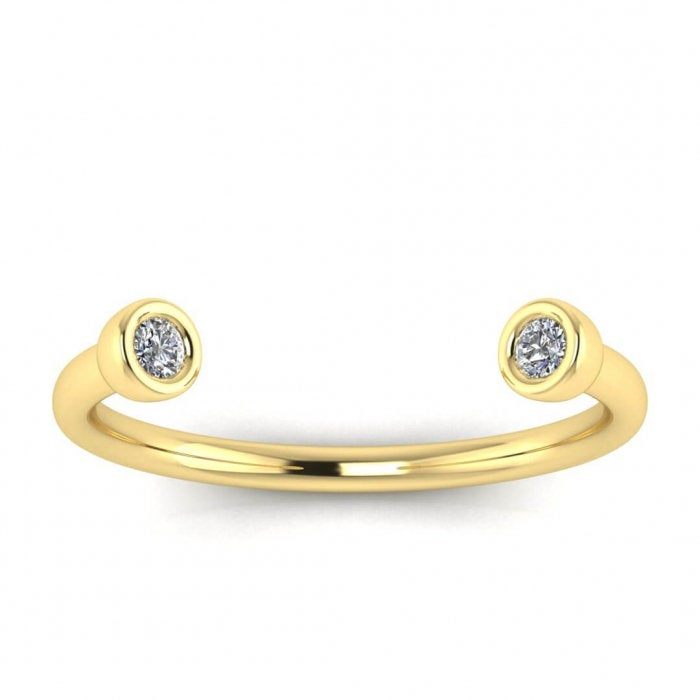 Diamond Horseshoe Ring, Dual Stone Open Wedding Gold Ring