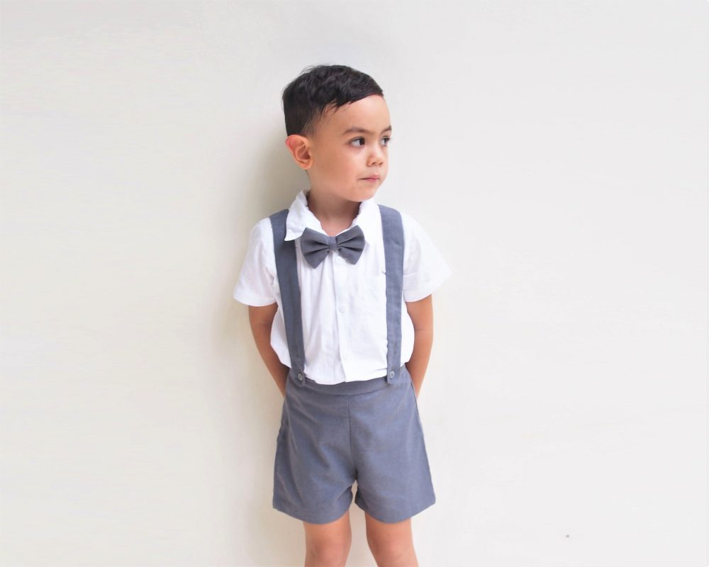 3Pcs. Christening Outfit-Charcoal, Suspender Shorts, Linen Shorts, Page Boy, Ring Bearer, Baptism Outfit, Christening Outfit, Boy Wedding Suit