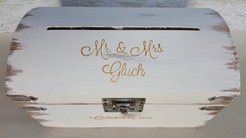 Custom Rustic Card Box - Choice Of Names, Dates & Color- | Wedding, Shower, Etc Money Cardbox Wood White Gold Treasure Chest Cards Gift