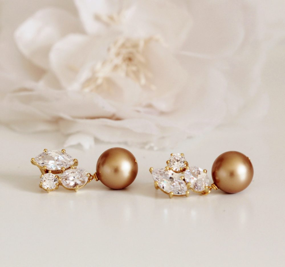 Gold Bridal Earrings, Vintage Pearl Mother Of The Bride Gift, Groom Wedding Gift For Mom E101
