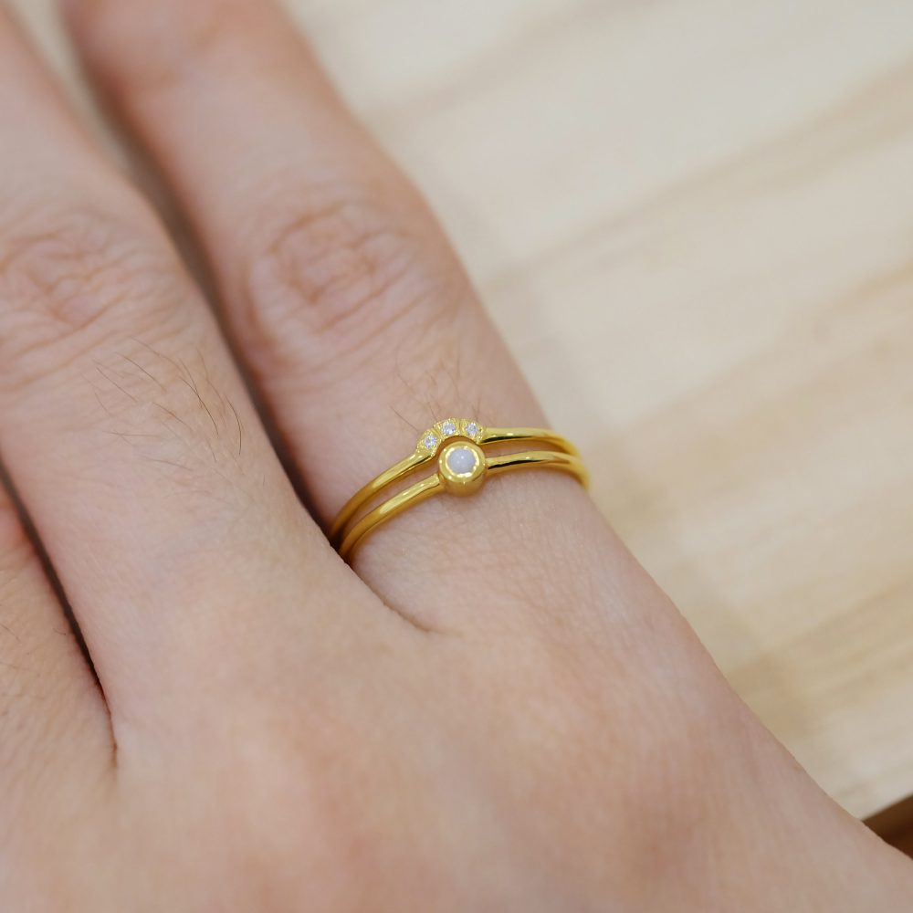 9K Solid Gold Pearl Ring Set, Pearl Wedding Set, Freshwater Ring, Gold Ring, Engagement Pearl, Pearl Ring, Minimalist