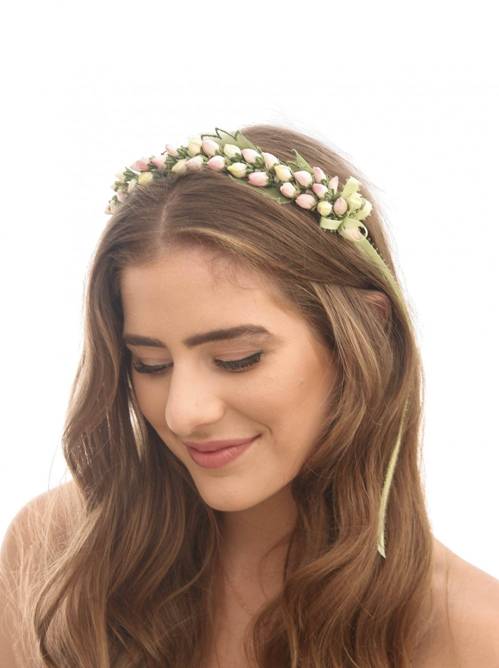 Flower Girl Headband Of Vintage Yellow & Pink Rose Buds Green Leaves, Wedding Crown Festival Photo Prop Hair Accessory