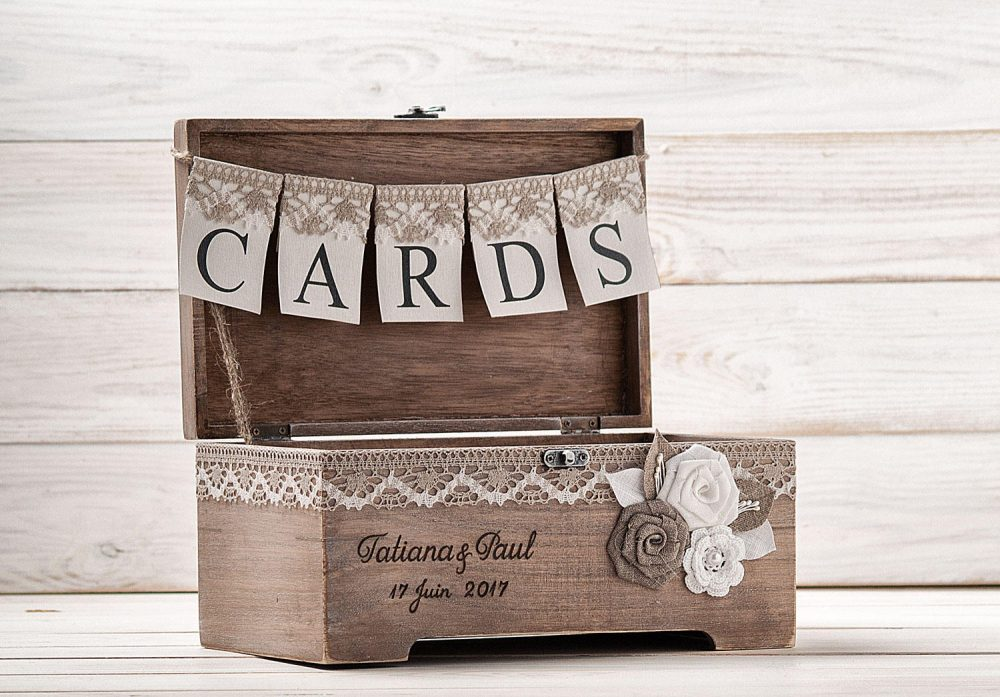 Rustic Wedding Gift Card Box With Lock, Wooden Holder, Keepsake Box, Personalized Chest, Money