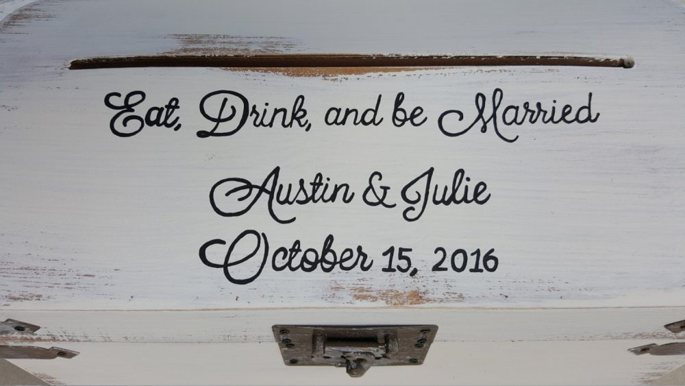 Eat, Drink, & Be Married Rustic Card Box | Wedding, Shower, Etc Money Cardbox Wood Love White Gold Treasure Chest Cards Shabby Flower