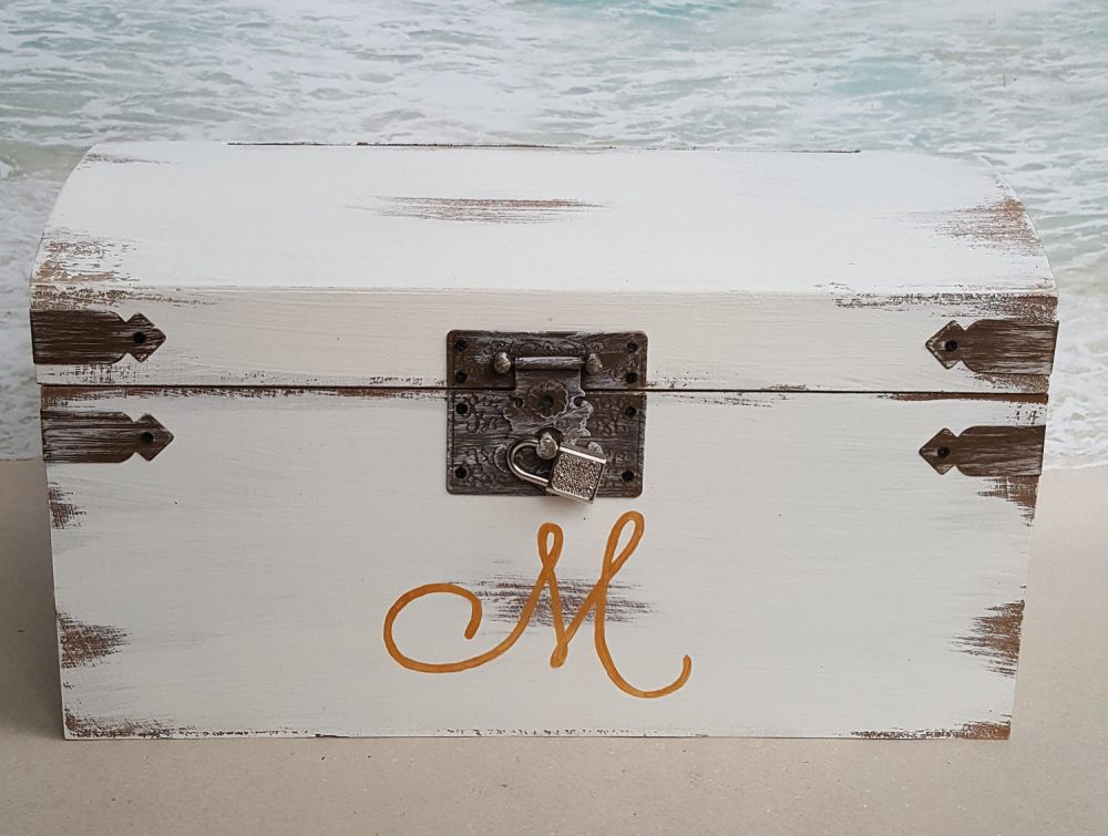 Rustic Card Box - Choice Of Initial & Color- | Wedding, Shower, Birthday, Etc Money Cardbox Wood Love White Gold Treasure Chest Cards