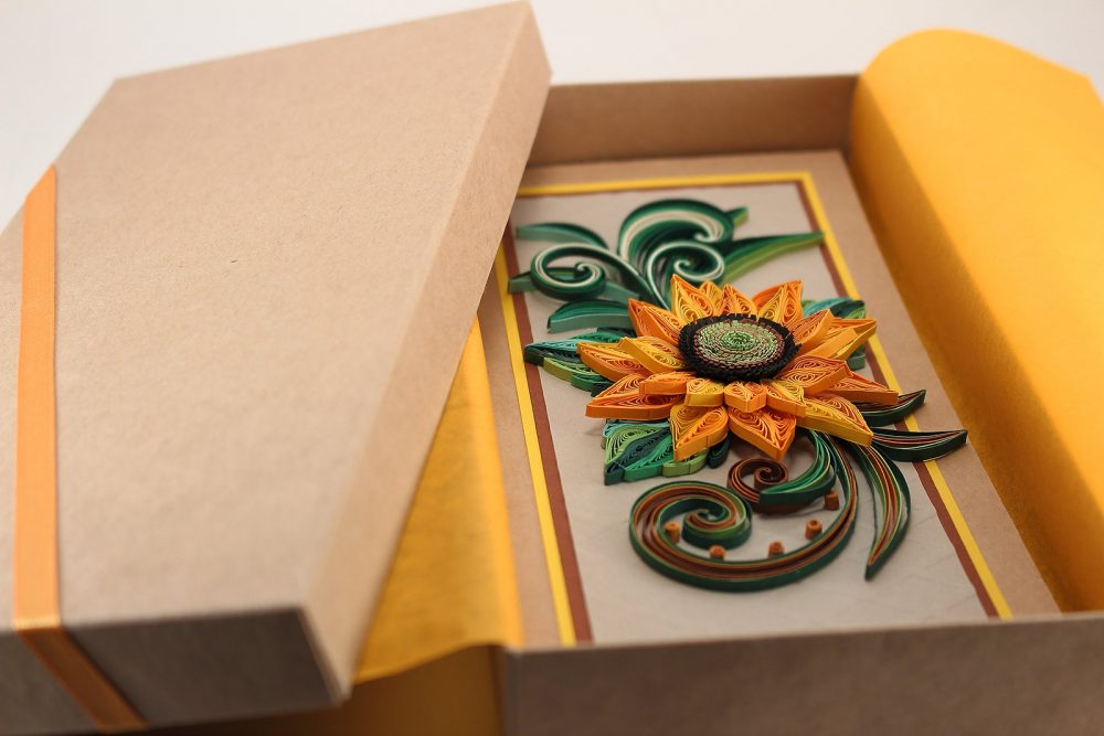 Quilling Sunflower Card - Birthday For Mom Summer Greeting Wedding Rustic Congratulations Boxed