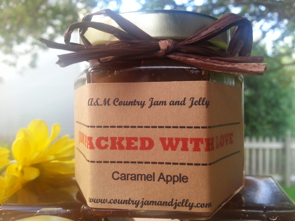 Country Wedding Favors Jam & Jelly Jars 50-1.5 Oz Jars with Choice Of Flavors, Personalized Labels, & Colored Raffia Ribbon