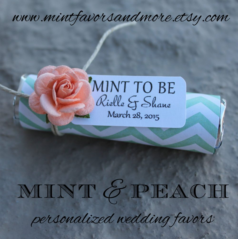Peach Roses With Custom Favor Tags, Mint To Be Wedding Peach