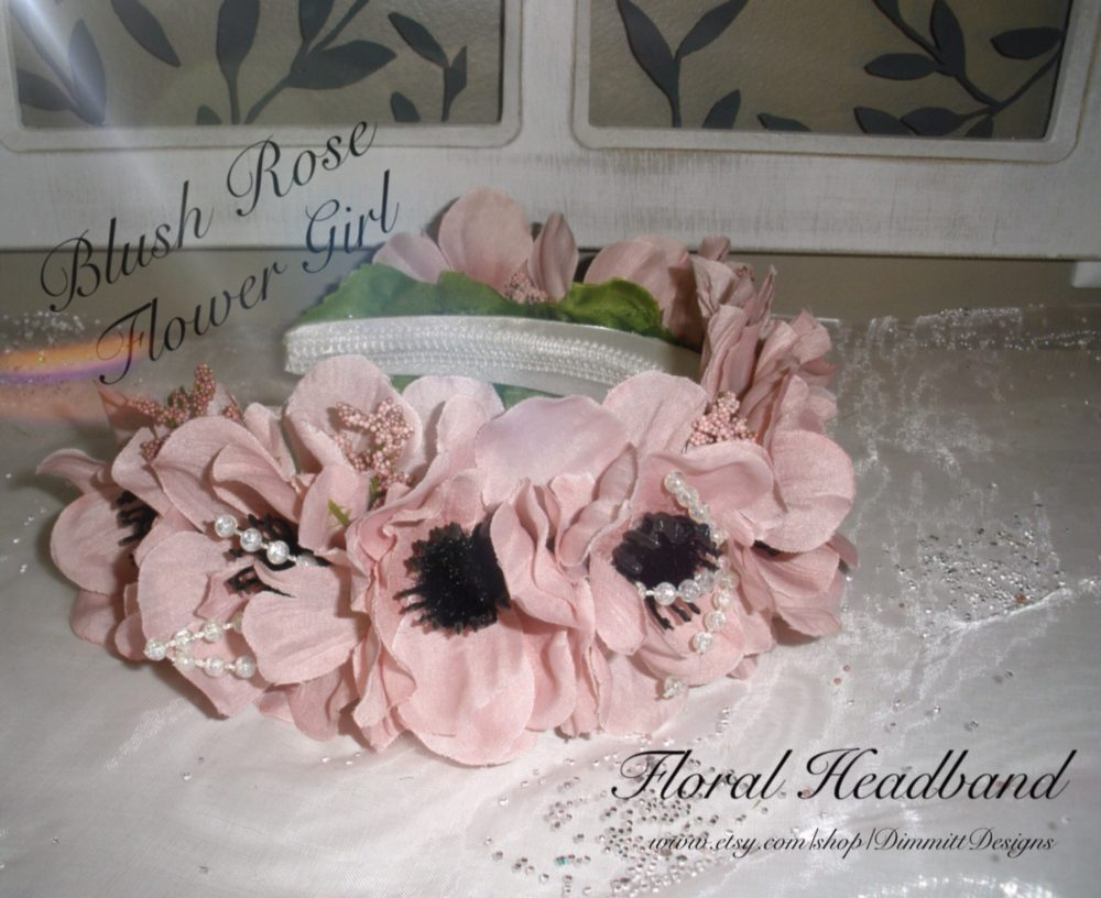 Blush Rose Flower Girl Headband, Bohemian Style Wedding Pink Accessories, Hair Piece, Floral