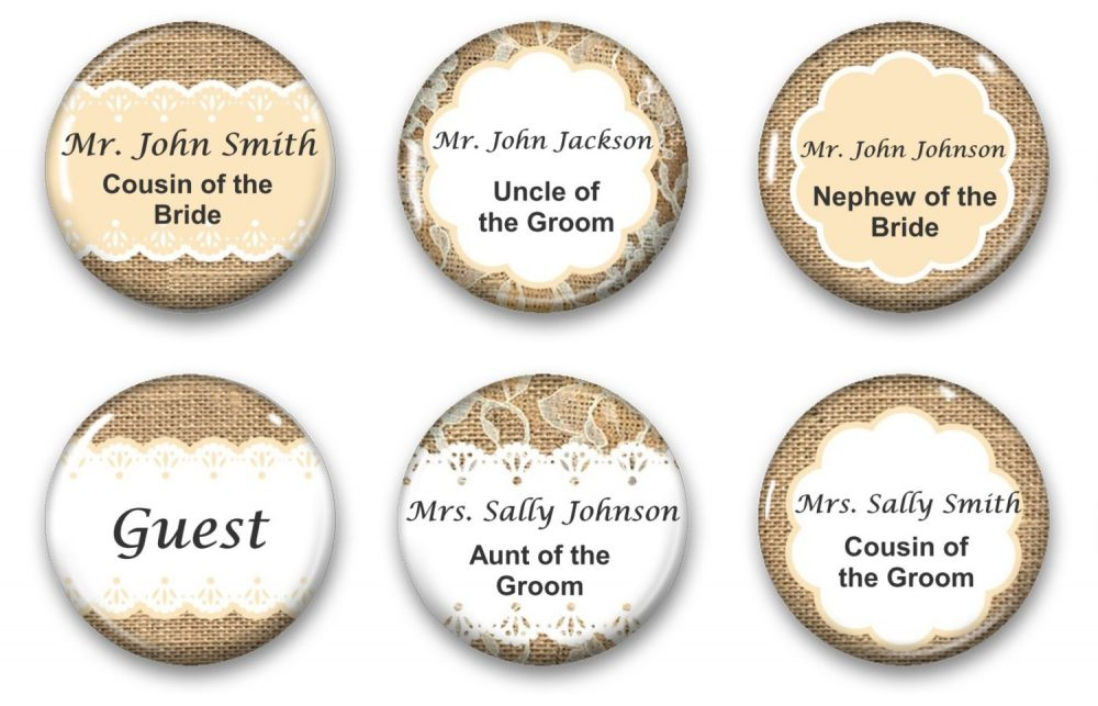Wedding Seating Magnets - Favor Burlap & Lace Magnet Personalized