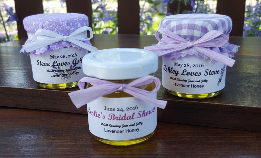 Lavender Honey Wedding Favors - 50 1.5Oz Jars with Raw Honey Infused With Lavender, Personalized Labels, Laced Burlap Topper & Raffia Ribbon