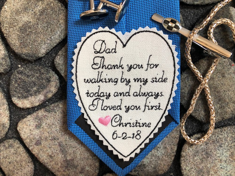 Father Of The Bride Tie Patch Personalized, Embroidered Wedding Tie Patch For Dad, Label, Dad Gift, Custom With Pink Heart
