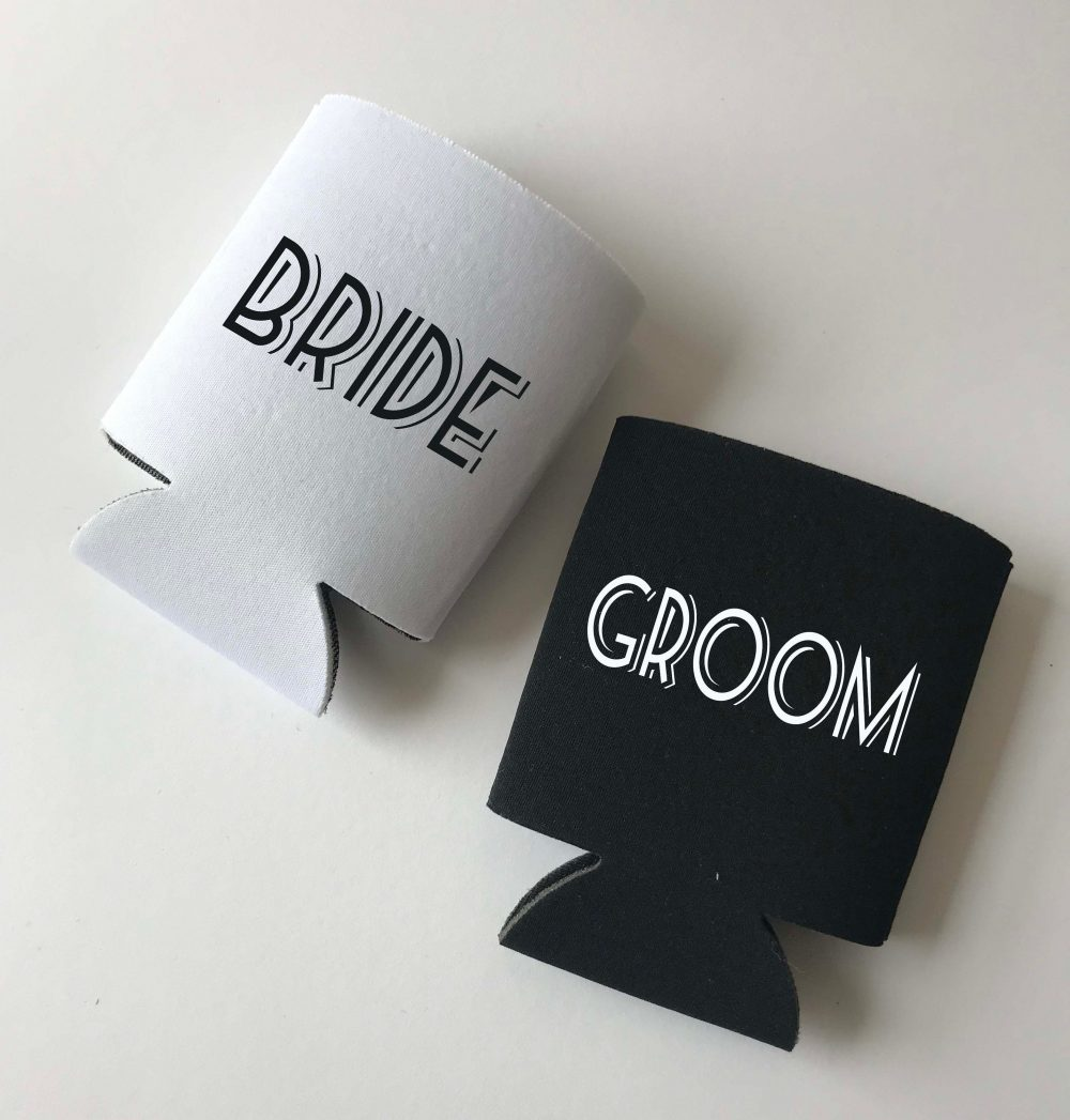 Bride & Groom - Personalized Can Coolers Art Deco Wedding Party Koozies