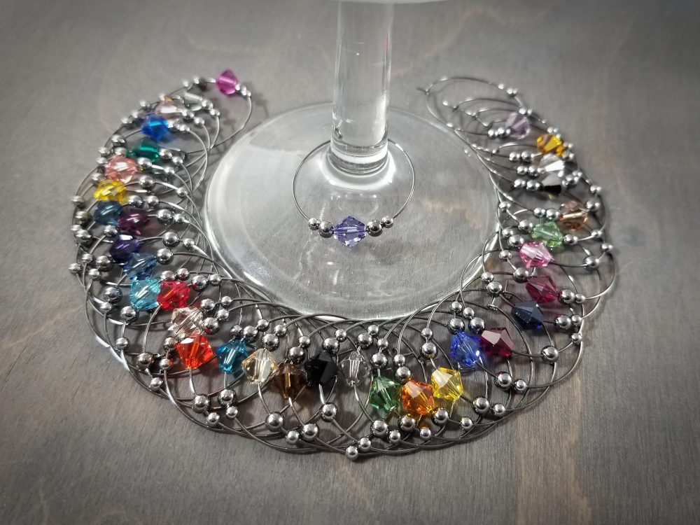 Swarovski Wine Charm | 36 Colors Gunmetal Crystal Drink - Wedding Charms Favor Party Favors Ssgn61