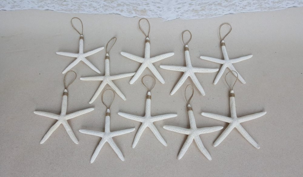"Set Of 10 White Starfish Ornaments - 4-5"" Each Beach Wedding Favors Nautical Christmas Ornament Favor"