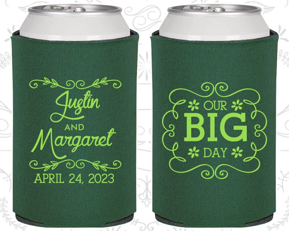 Our Big Day, Personalized Wedding, Vintage Wedding Favors, Floral Romantic Coolies   384