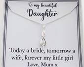 Daughter bride wedding day necklace jewellery gift from mom mum mother of the bride, gift for bride daughter, bridal gift, sterling silver