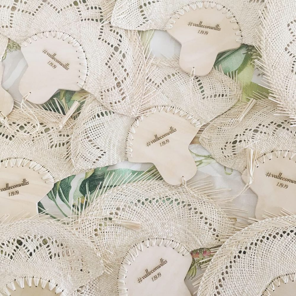 Palm Personalized Hand Fans/Wooden Fan Traditional Mexican Wedding Favors Custom