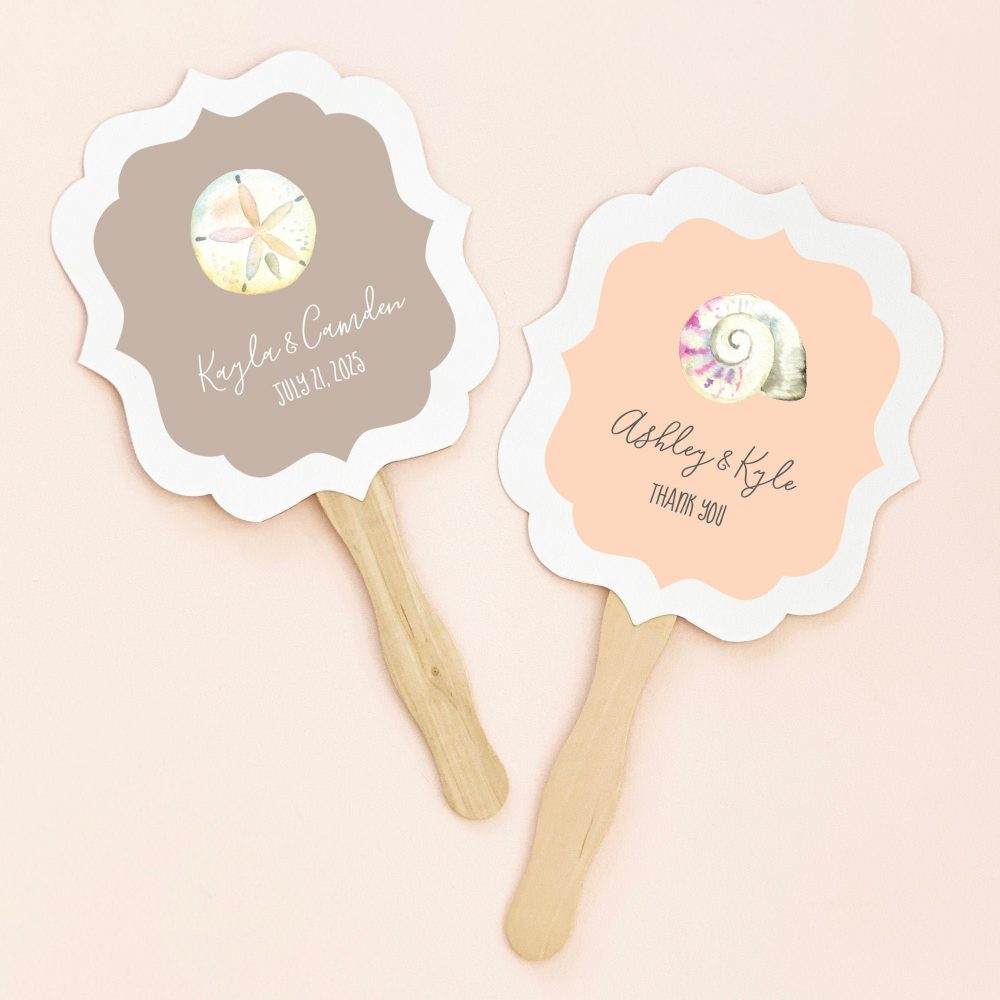 Beach Wedding Favors Hand Fan Paddle Personalized Wooden Favor Paper | Eb2354Tpb - Set Of 24