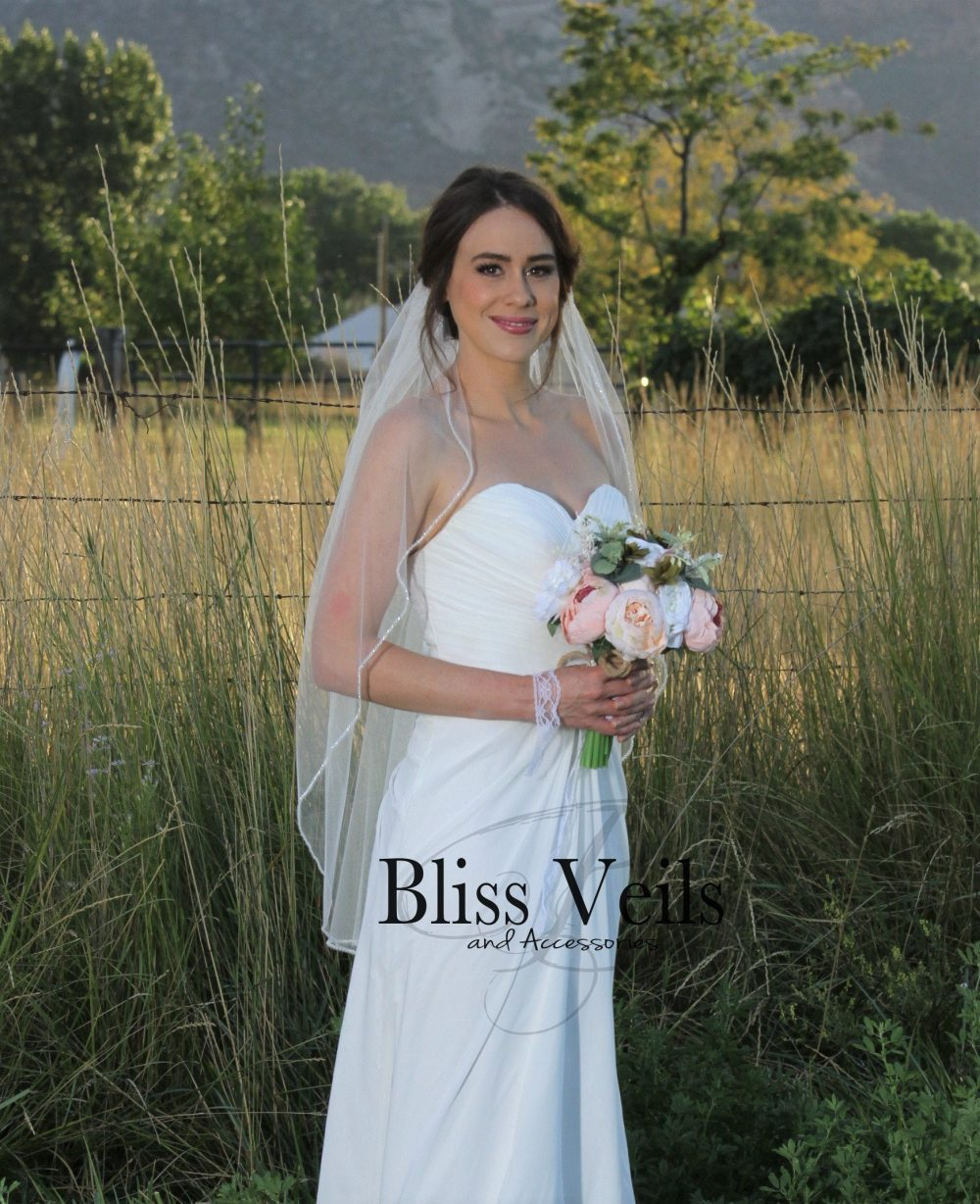 Beaded One Layer Ivory Wedding Veil - Fast Shipping